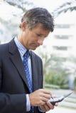 户外生意人使用 免版税库存图片