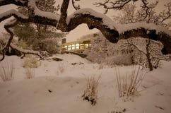 从户外看的家的光在多雪的夜 免版税库存照片