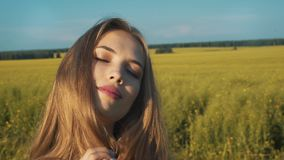户外秀丽浪漫女孩 美丽的少年式样女孩在领域的偶然短的礼服穿戴了在太阳光 股票视频