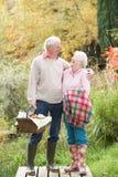户外篮子夫妇去野餐前辈 免版税图库摄影