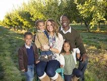 户外美丽的多种族家庭画象 库存照片