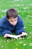户外读少年 免版税库存图片