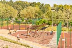 户外运动设施在基辅Natalka公园在乌克兰 免版税库存照片