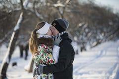 户外逗人喜爱的夫妇浪漫照片在冬天 年轻人和 库存图片