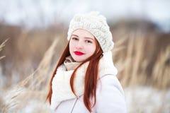 户外逗人喜爱的女孩在一个晴朗的冬日 免版税库存图片