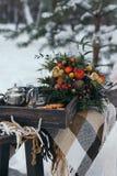 户外野餐在冬天 免版税库存图片