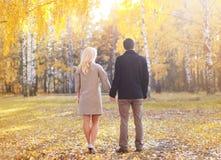 户外年轻夫妇剪影在晴朗的秋天 库存图片