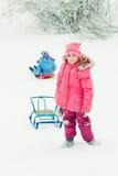 户外婴孩冬天。 免版税库存照片