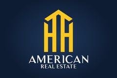 房地产、大厦、议院、建筑和建筑学商标传染媒介设计 免版税库存照片
