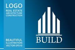 房地产、大厦、议院、建筑和建筑学商标传染媒介设计 库存照片