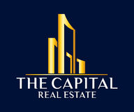 房地产、大厦、建筑和建筑学商标传染媒介设计 免版税库存图片