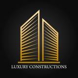 房地产、大厦、建筑和建筑学商标传染媒介设计 库存图片