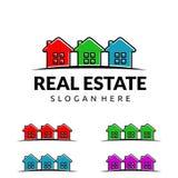 房地产传染媒介与独特的家的商标设计 库存图片