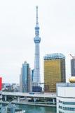 房地产和公司建筑的企业概念:东京Skytreesky树,土地现代都市风景大厦视图  库存照片