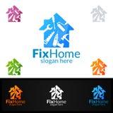 房地产商标,固定家庭传染媒介商标设计适用于为建筑学,杂物工, bricolage, Diy和另一种应用 免版税库存照片