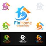 房地产商标,固定家庭传染媒介商标设计适用于为建筑学,杂物工, bricolage, Diy和另一种应用 库存照片
