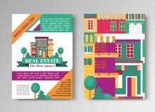 房地产平的小册子设置了与房子商标,丝带,树 村庄公寓租务和买的飞行物传染媒介 向量例证