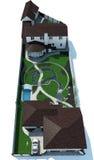 房地产概略的视图被隔绝在白色背景, 3D翻译 免版税库存图片