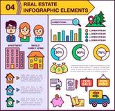 房地产infographic模板和元素 模板包括男人、妇女和孩子的例证 现代 向量例证