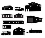 房子剪影 库存图片