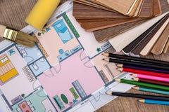 房子单独计划有木样品的, 库存照片