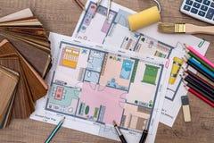 房子单独计划有木样品的 库存照片