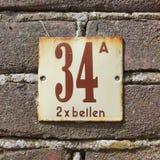 房子号码三十四A - 34 A 免版税库存照片