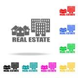 房子和公寓象销售  房地产的元素在多色的象的 优质质量图形设计象 简单的集成电路 免版税库存照片