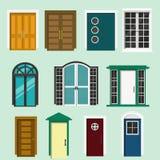 房子和大厦的各种各样的前门设计 套五颜六色的被隔绝的门 图库摄影
