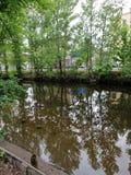 房子和树的反射在河在彼得斯堡 免版税库存照片