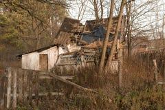 房子在切尔诺贝利区域,乌克兰, 2016年11月的废墟 免版税库存图片