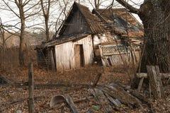 房子在切尔诺贝利区域,乌克兰, 2016年11月的废墟 免版税库存照片