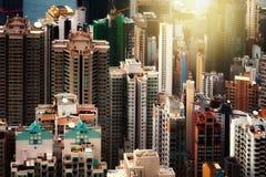 房子在香港包括许多大厦 库存照片