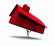 房子增强的人红色 向量例证