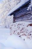 房子多雪的森林 库存图片
