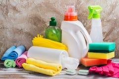 房子大扫除  被设置的清洁物品 免版税库存图片