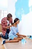 绘画房子夫妇 图库摄影