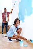 绘画房子夫妇 库存照片