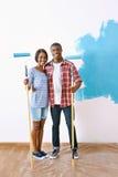 绘画房子夫妇 免版税库存照片
