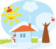 房子少许冬天 向量例证