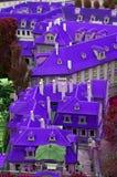 房子屋顶在一个紫色国家 免版税库存图片