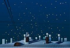 房子屋顶有烟囱的在夜空传染媒介下 库存例证