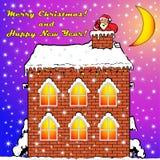 房子屋顶的圣诞老人 库存例证