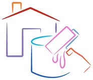 房子徽标绘画 免版税图库摄影