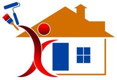 房子徽标paintng 库存例证