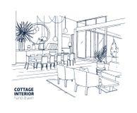 房子或夏天村庄内部粗砺的单色图画与时髦的家具和家庭装饰 用餐和 向量例证
