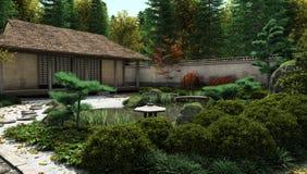 房子日本池塘茶 免版税图库摄影