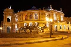房子晚上傲德萨歌剧视图 免版税图库摄影