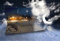 房子月亮雪 免版税库存照片