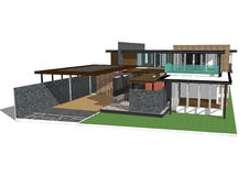房子查出的白色 实际概念的庄园 3d 库存例证